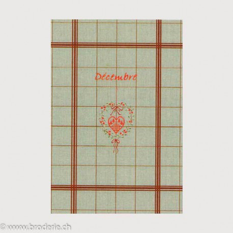 Bonheur des Dames, linge 100% en lin avec grille décembre (BDTL12)