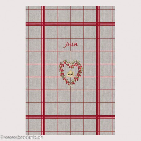 Bonheur des Dames, linge 100% en lin avec grille juin (BDTL06)