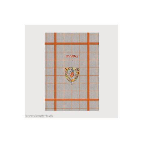 Bonheur des Dames, linge 100% en lin avec grille octobre (BDTL10)