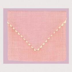 Bonheur des Dames, pochette lin rose (BDPOC9)