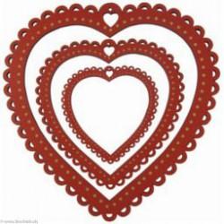 Au Ptit Bonheur, cadre à festons coeur rouge moyen (CAD007M)