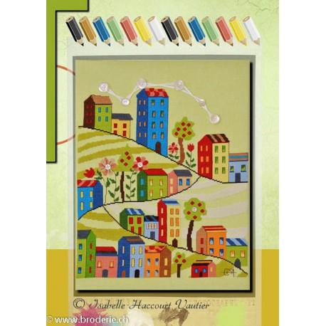 Isabelle Vautier, grille Coloriage A la grande ville (COL02)