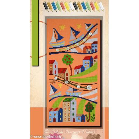 Isabelle Vautier, grille Coloriage Maisons et bateau (COL01)