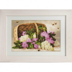 Luca-S, kit canevas petits points Basket of lilacs (LUCAG501)