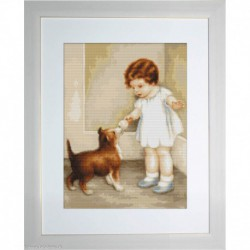Luca-S, kit canevas petits points Girl with Puppy (LUCAG372)