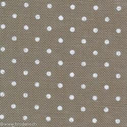 Zweigart, Lin Belfast 12.6 fils/cm taupe points blancs (3609-7319)