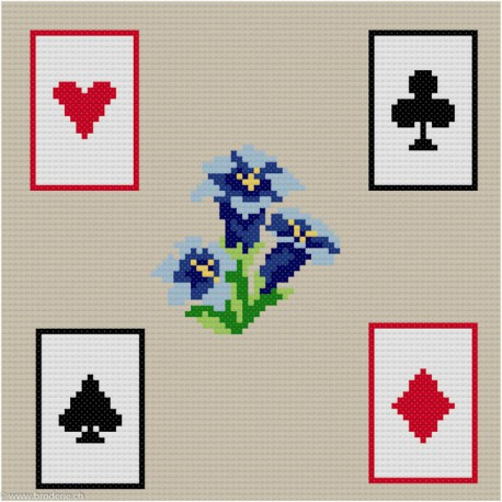 ClBroderie, tapis de carte Gentianes (TDC08)
