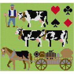 ClBroderie, tapis de carte Paysan et troupeau (TDC04)