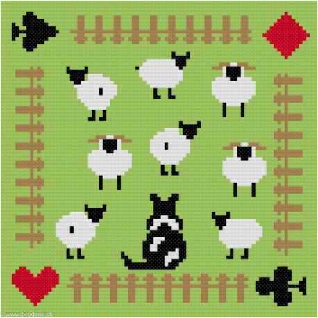 ClBroderie, tapis de carte Troupeau de moutons (TDC03)
