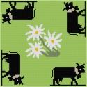 ClBroderie, tapis de carte Vaches noires et Edelweiss (TDC09)