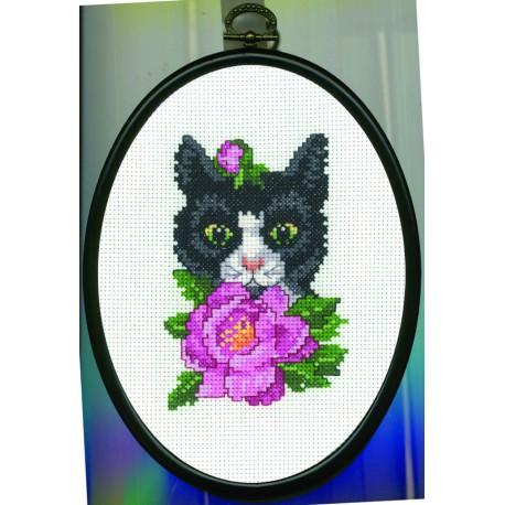 Permin, kit chat noir, avec cadre (PE12-9307)