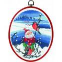 Permin, kit Père-Noël avec oiseaux, avec cadre (PE12-0526)