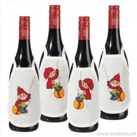 Permin, kit 4 tabliers pour bouteille de vin Lutins (PE78-1217)