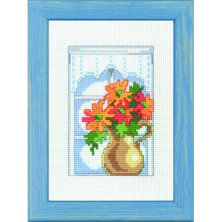Permin, kit fenêtre et chrysanthèmes (PE92-9312)