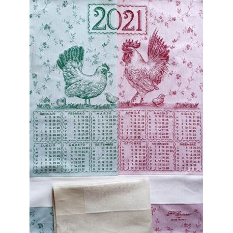 Graziano, Linge de cuisine calendrier 2021 poules, vert (CU5855)