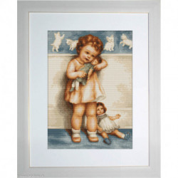 Luca-S, kit canevas petits points Girl with Doll (LUCAG370)