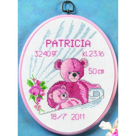 Permin, kit facile naissance ours fille, cadre compris (PE92-0901)