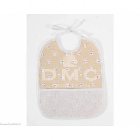 DMC, bavoir 6 mois lapins, pèche (DMC-RS2652GP)