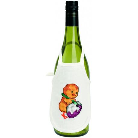 Permin, kit 4 tabliers pour bouteille de vin poussins (PE78-9570)