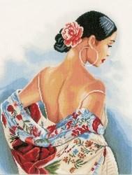 Lanarte, femme à écharpe florale